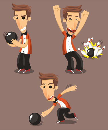 bocce ball: Bowler bowling Set, vector illustration cartoon.