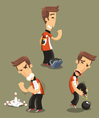 Bowler bowling Set, vector illustration cartoon.