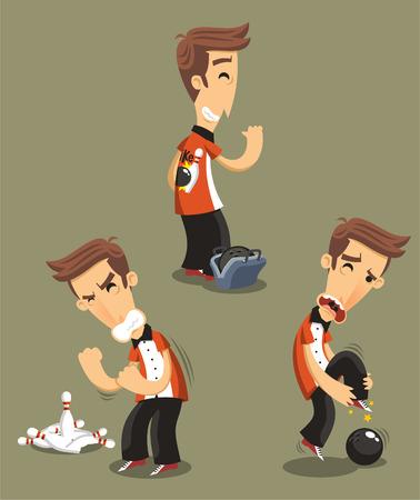 bowling alley: Bowler bowling Set, vector illustration cartoon.