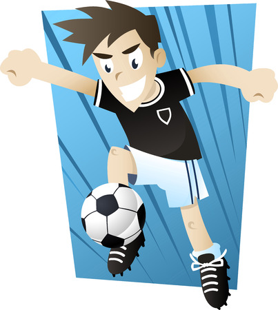 soccer field: little boy playing soccer illustration Illustration