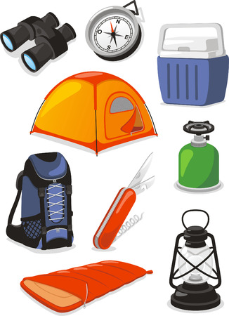 cooler: Camping Outdoors Icons, with swiss army knife, knife, cooler, binoculars, burner, lantern, lamp, tent, backpack, compass and sleeping bag.
