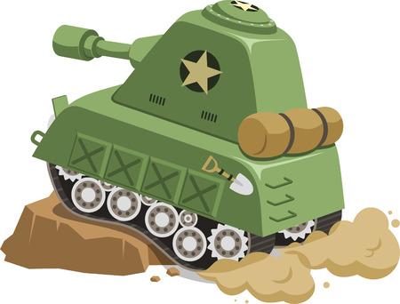 War Tank vehicle climbing obstacle cartoon, vector illustration cartoon. Stock Illustratie