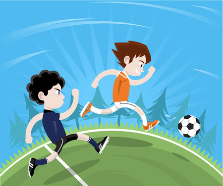 cartoon human: Soccer player anticipating football move going to the ball first. Vector illustration cartoon. Illustration