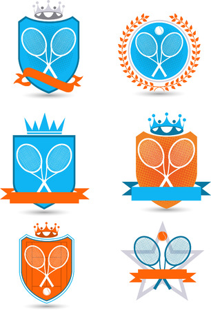 American Tennis Emblem with banners, crowns, stars, balls, and racket vector illustration. Ilustração