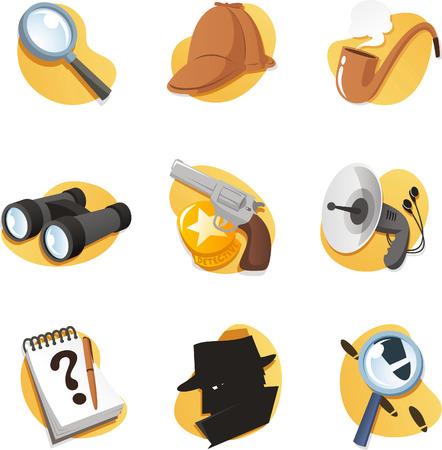 探偵のアイコン ベクトル形式で要素を設定します。虫眼鏡、キャップ、双眼鏡、銃、レーダー、帽子、メモ帳、パイプ、拡大鏡、およびより多くの