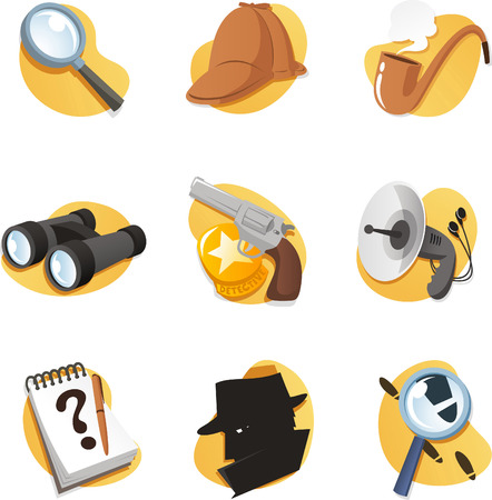 Detective Icon set elements in vector format. With magnifying glass, cap, binoculars, gun, radar, hat, Notepad, pipe, Magnifying Glass, and many more.