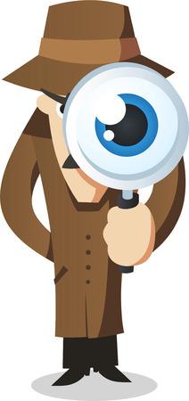 policia caricatura: Ojo privado con lupa.