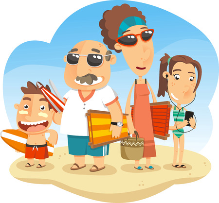 Family vacationing at the Beach, with parents and kids and all swimming suit, sandal, flip flop, swimming suit, flip flop, sandals, basket, sand, canvas chair, deck chair, sun umbrella, parasol, umbrella, sunglasses, beach glasses, ocean, swimming, sunbat Vettoriali