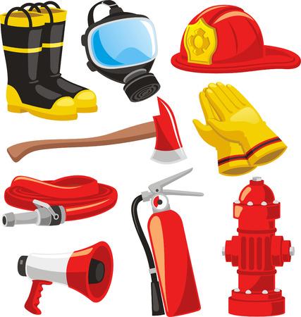 bombero de rojo: Elementos de bomberos de recogida establecidas, incluyendo botas, m�scara, casco, hacha, guantes, mangueras, extintor de fuego, ilustraci�n vectorial meg�fono.