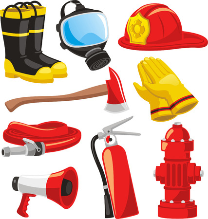 fire and water: Fire-fighter elements set collection, including boots, mask, helmet, axe, gloves, hose, fire extinguisher, megaphone vector illustration.