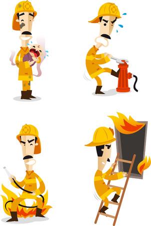 Firefighter Fire Hose Fireman Uniform Flame, vector illustration cartoon.