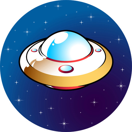 Flying saucer in space