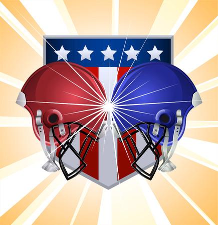 football helmets: Football helmets clashing Illustration