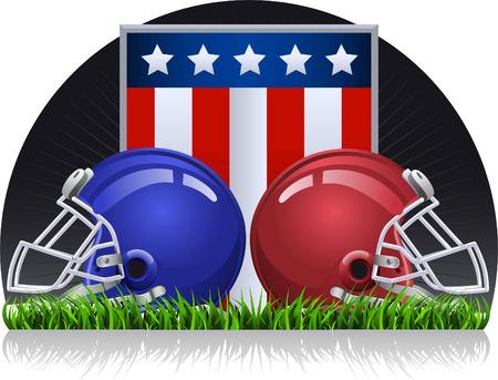 football helmets: Football helmets on a green field