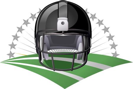 Black Football helmet on a green field Vector