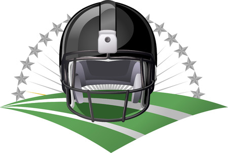 floodlit: Black Football helmet on a green field