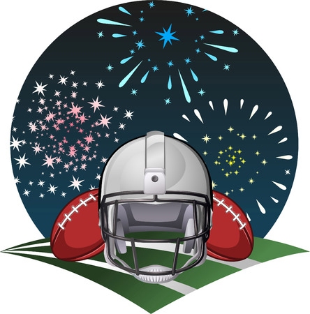 afc: Football helmets with fireworks Illustration