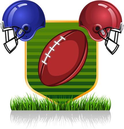 football helmets: Football helmets with field illustration Illustration