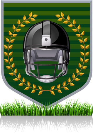 football Helmet green emblem Vector