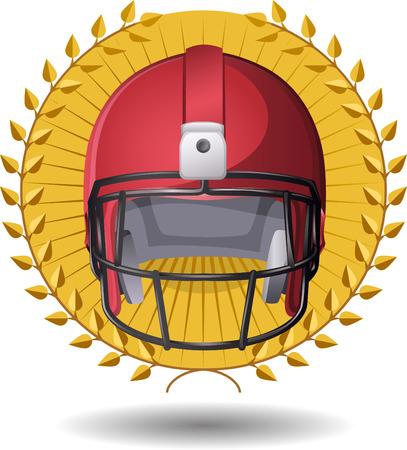 casco rojo: Medalla de footbal Americal con un casco rojo.