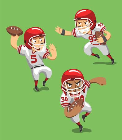 uniforme de futbol: Jugador de fútbol americano con la bola en el campo, ilustración vectorial de dibujos animados.
