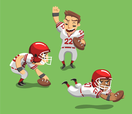 フィールドにボールを持つアメリカのフットボール選手はベクトル イラスト漫画。