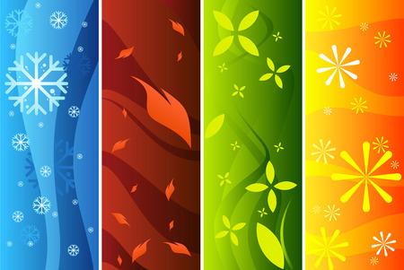 Four seasons banners. Illustration