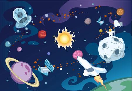 우주선, 외계인, 태양과 태양계와 우주 비행사를 갖춘 만화 은하 장면.