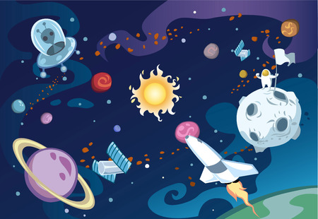 Cartoon galaxy scene featuring spaceship, aliens, sun and the solar system, and an astronaut.
