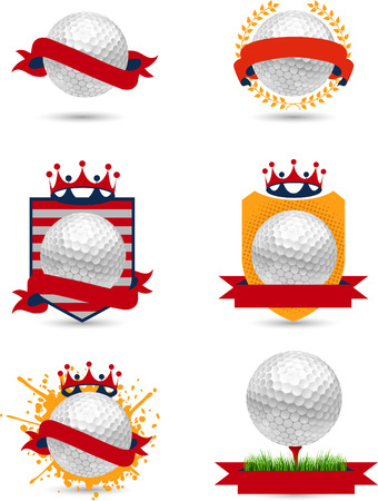 Very fun to use set of golf emblems,and symbols containing american colors and golf balls.