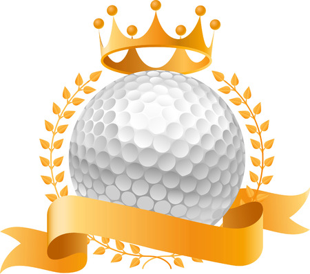 Golf gold crown design banner icon