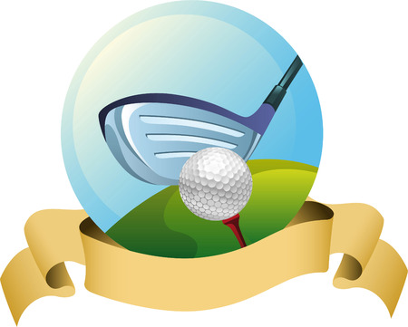 Golf drive banner icon Çizim