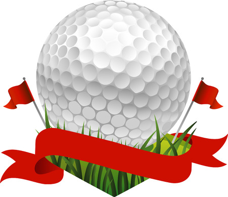 Red golf flag banner with a golf ball