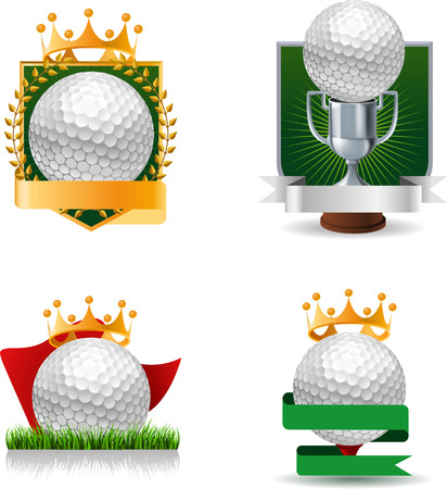 set of golf emblems and symbols trophy and medal icons Vector