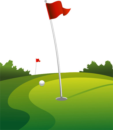 putting green: Golf land green vector illustration Illustration