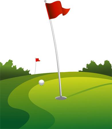 holes: Golf land green vector illustration Illustration