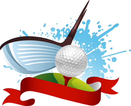 golf hit banner Banco de Imagens - 34234896