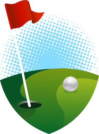 green and red: golf green with shield shape close up scene Illustration