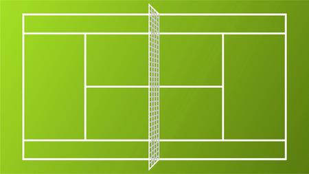 Sport Tennis Court field pitch ground with white Net vector illustration. Vettoriali