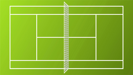 Sport Tennis Court field pitch ground with white Net vector illustration. Illustration