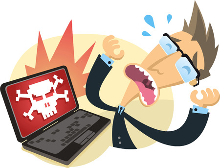 cartoon worker agony when his computer was hacked. Illustration