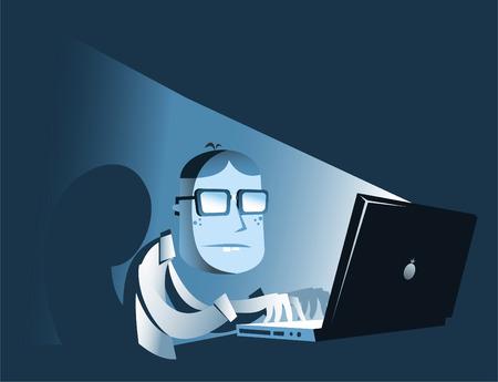 computer hacker: Hacker nel buio. Vettoriali