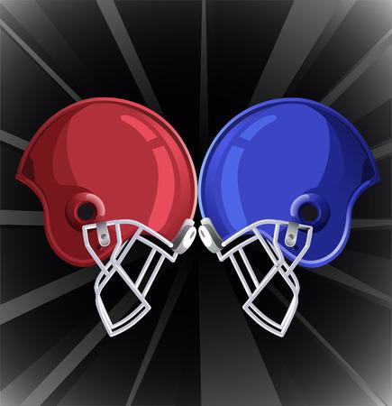 Football helmets clashing illustration Illustration