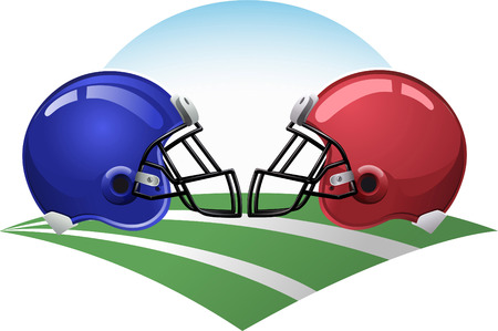 Football helmets on a green field
