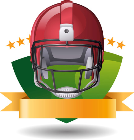 football Helmet green emblem Vector