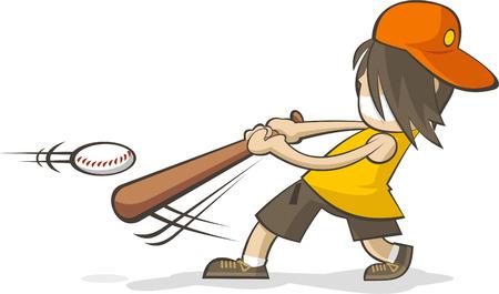 hitting: Giovane ragazzo di colpire una palla da baseball