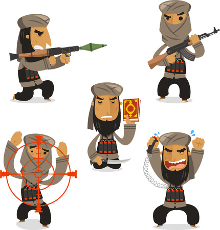 hostage: Islamic terrorist with Islamic terrorist with machine gun, Islamic terrorist with AK 47 gun, Islamic terrorist with Koran, Islamic terrorist with bomb, dynamite vector illustration. Illustration