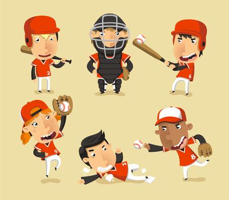 子供の野球チーム、ベクトル イラスト漫画。