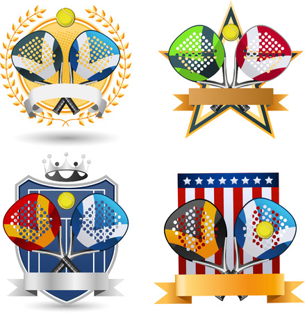 proffesional: Paddle Sport Emblem With Rackets, ball, banner and Crown vector illustration.