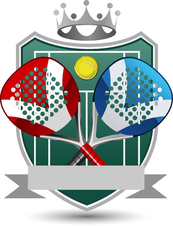 proffesional: Paddle Sport Emblem With Rackets, ball, banner and Crown.